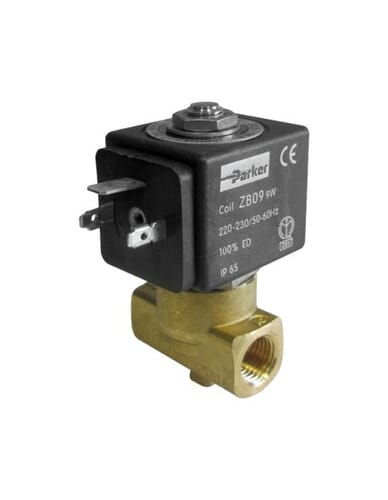 "Parker 2 way solenoid valve 1/4"" 1/4"" DN 2,5mm 9W 220/230V 50/60Hz"