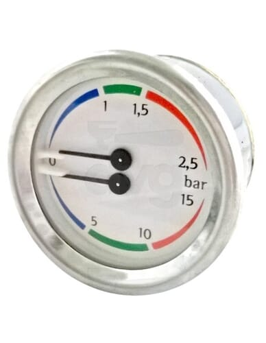 Nuova Simonelli boiler pomp manometer 0-2.5 / 0-15 bar