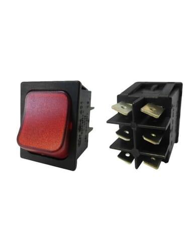Schakelaar rood verlicht met 6 contacten
